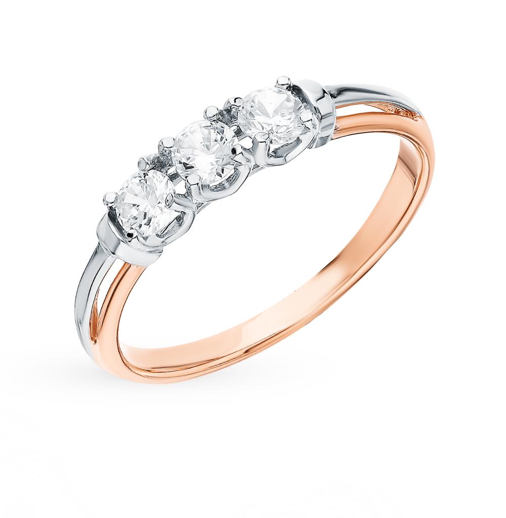 золотое кольцо с фианитами SOKOLOV 018091*