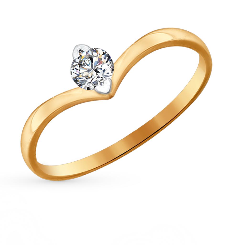 золотое кольцо с фианитами SOKOLOV 81010223*