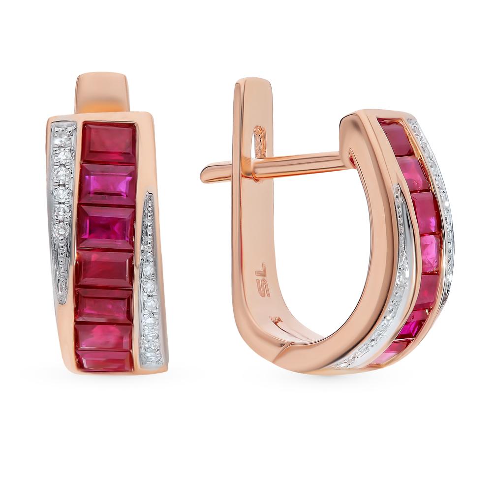 Золотые серьги с рубинами и бриллиантами в Екатеринбурге