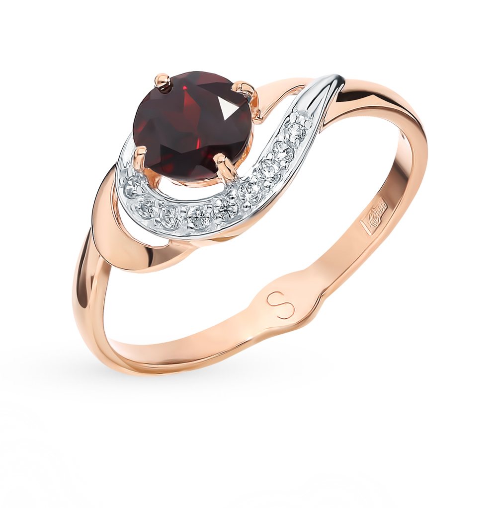золотое кольцо с фианитами и гранатом SOKOLOV 715563*