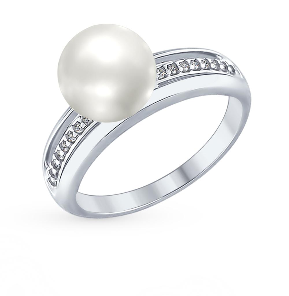 серебряное кольцо с фианитами и жемчугом SOKOLOV 94012346