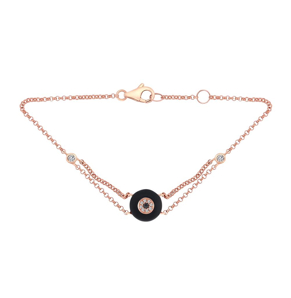 золотой браслет с чёрными бриллиантами, ониксом и бриллиантами