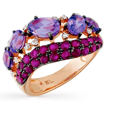 золотое кольцо с рубинами, аметистом и бриллиантами