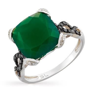 Фото «золотое кольцо с чёрными бриллиантами, агатом и бриллиантами»