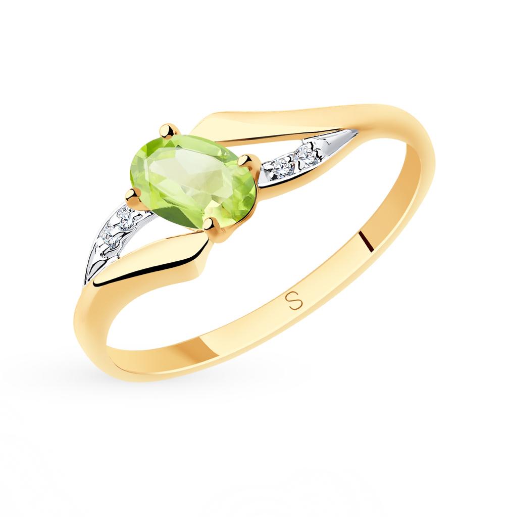 золотое кольцо с хризолитом и фианитами SOKOLOV 715684*