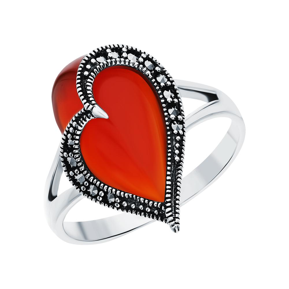 Серебряное кольцо с сердоликом и марказитами swarovski в Санкт-Петербурге