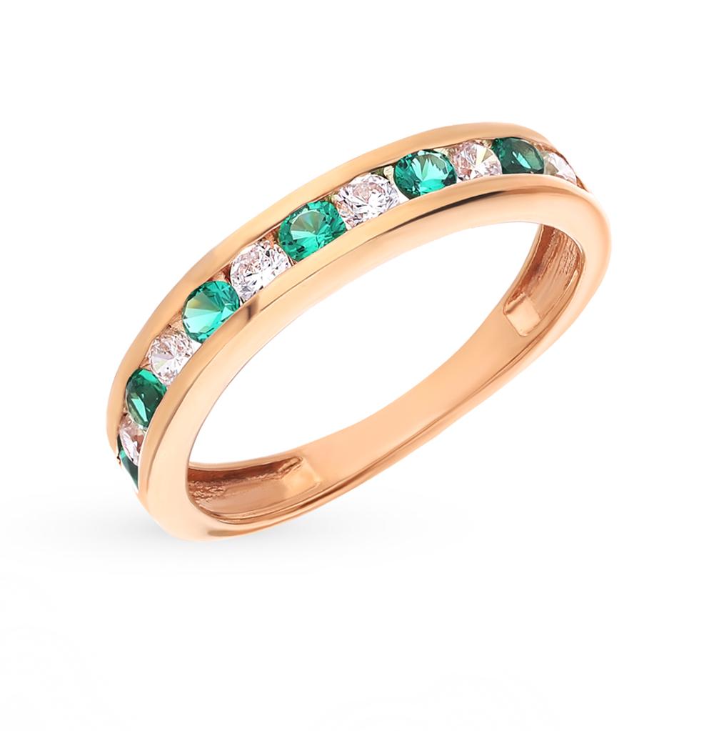 Фото «Серебряное кольцо с фианитами и изумрудами синтетическими»