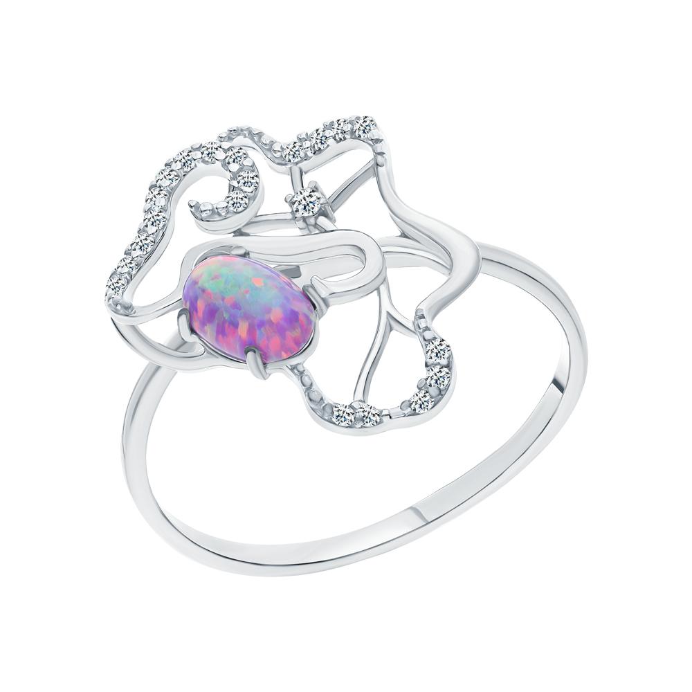 Серебряное кольцо с опалами и кубическими циркониями в Екатеринбурге