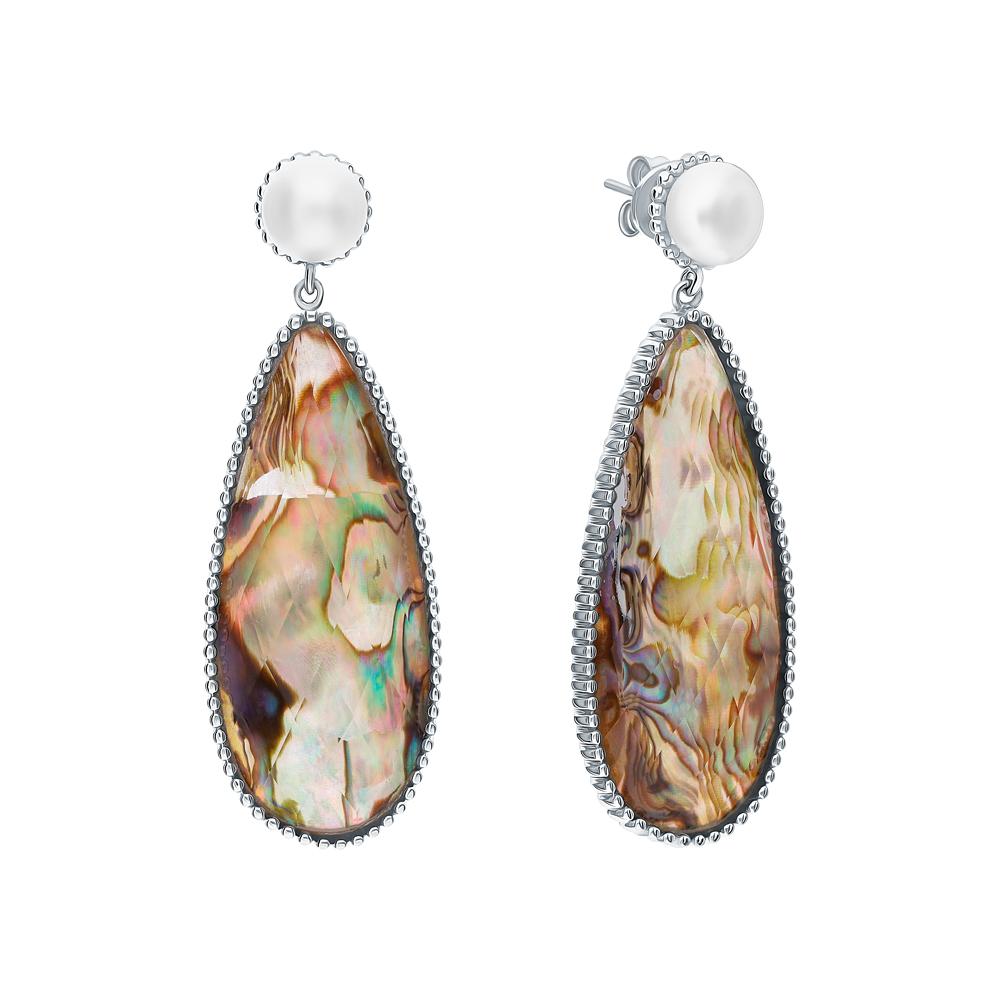 Фото «Серебряные серьги с алпанитом, жемчугами культивированными и ракушками»