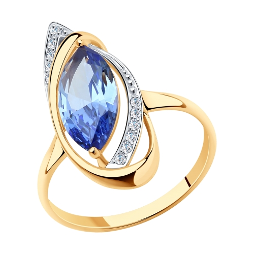 Фото «Золотое кольцо с ситаллами SOKOLOV 716013*»