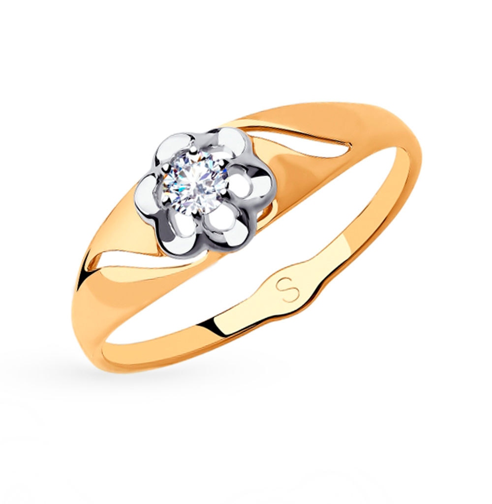 Фото «Золотое кольцо с фианитами SOKOLOV 018185»