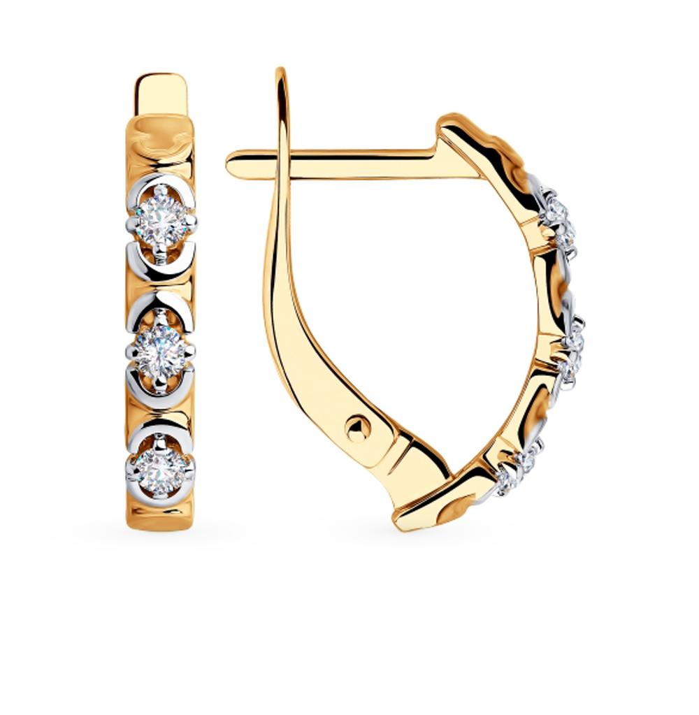 золотые серьги с фианитами SOKOLOV 81020425