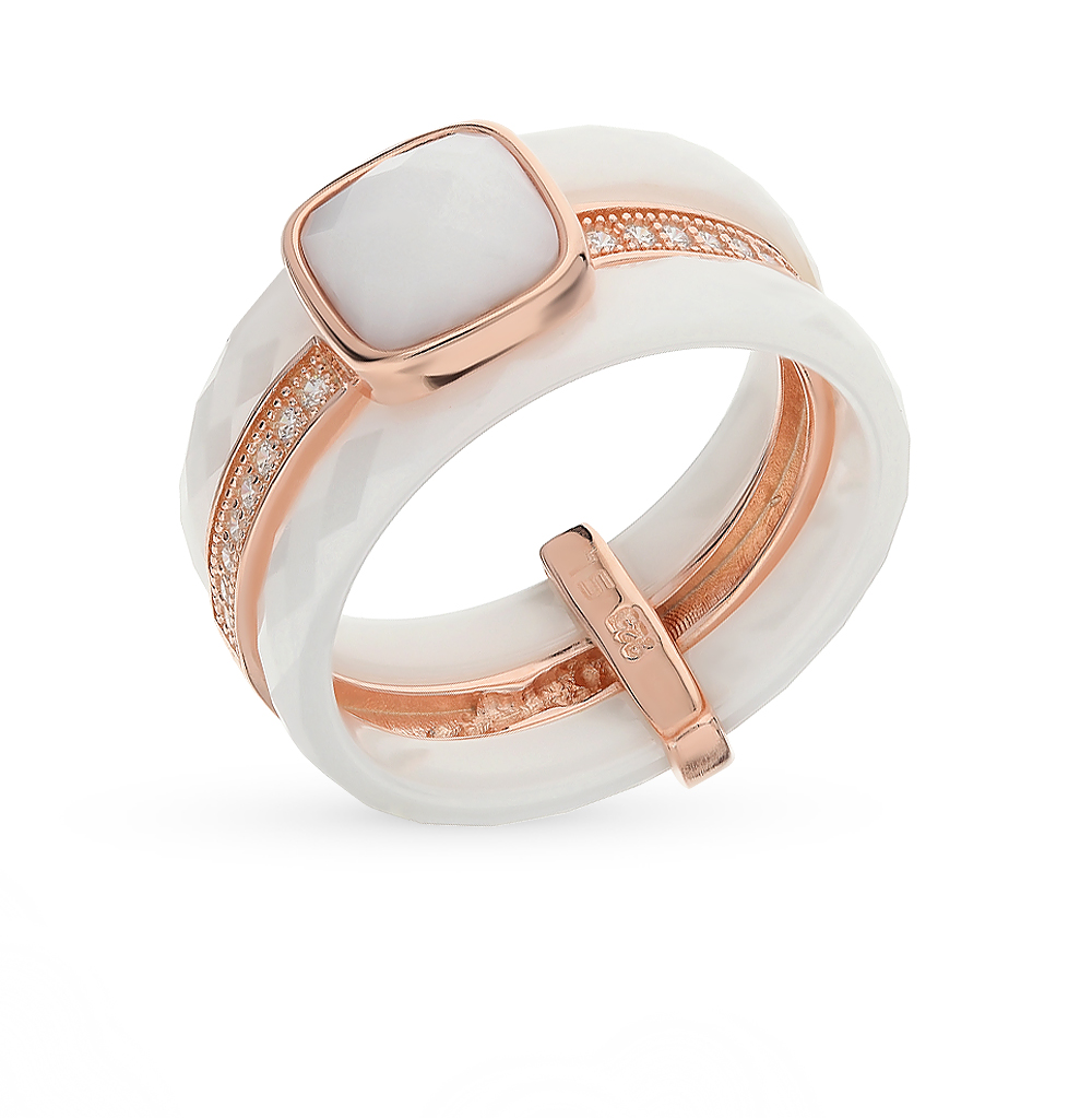 Керамическое кольцо с фианитами и алпанитом