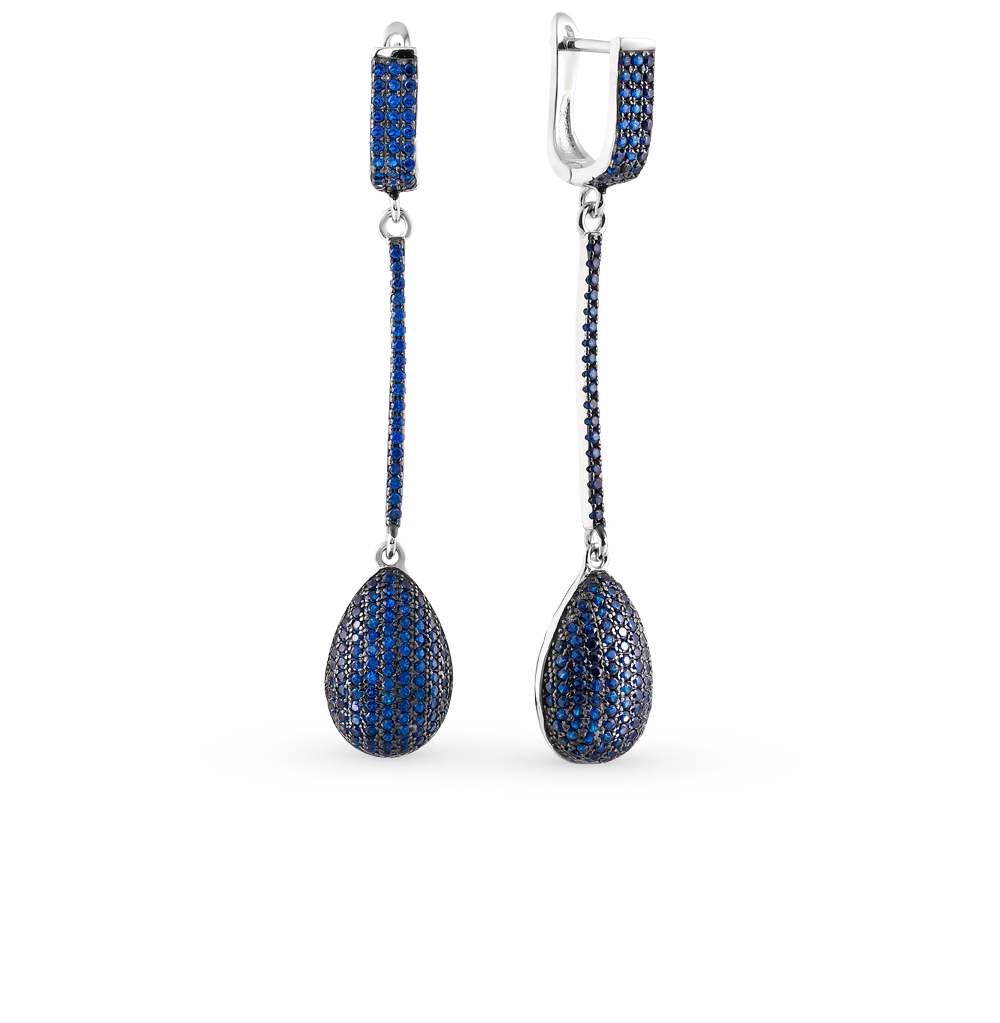 Фото «серебряные серьги с шпинелями синтетическими»