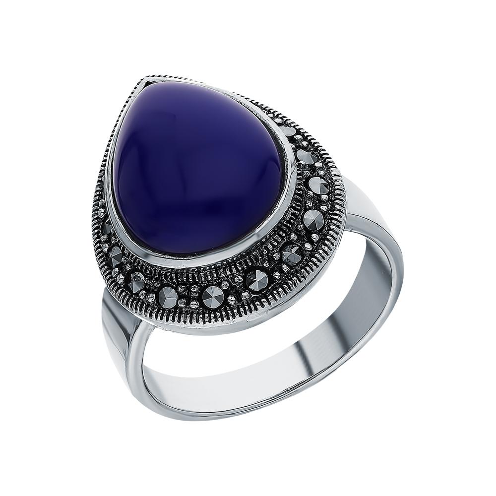 Серебряное кольцо с лазуритом и марказитами swarovski в Екатеринбурге