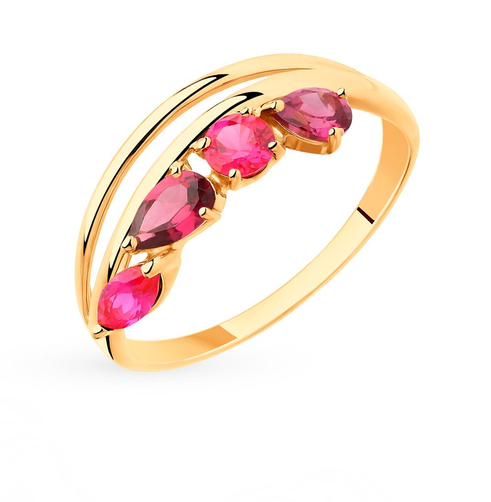 золотое кольцо с родолитами и корундом SOKOLOV 715429*