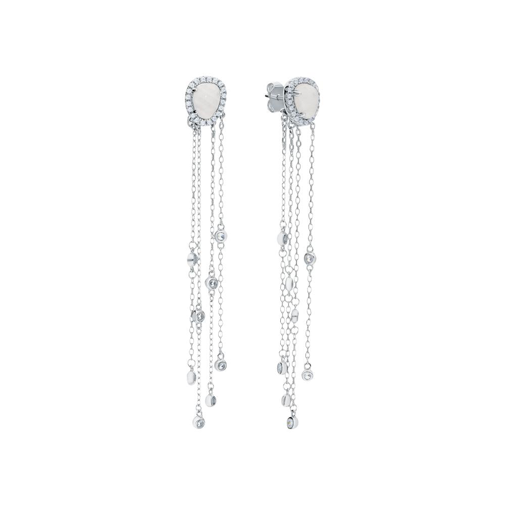 Фото «Серебряные серьги с фианитами и лунными камнями»