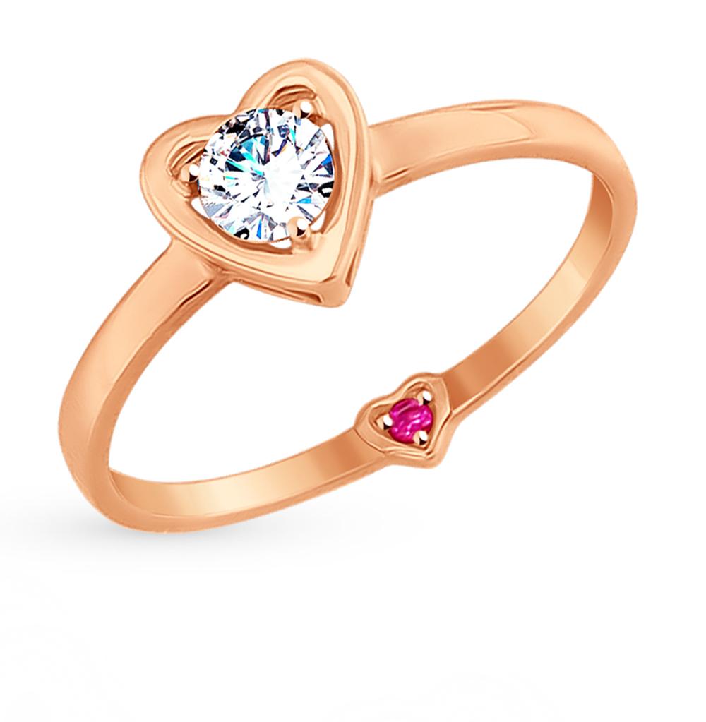 золотое кольцо с фианитами SOKOLOV 017530*