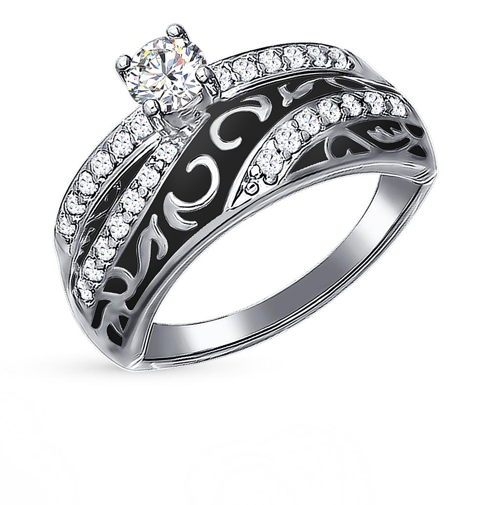 Фото «Серебряное кольцо с фианитами и эмалью SOKOLOV 94011133»