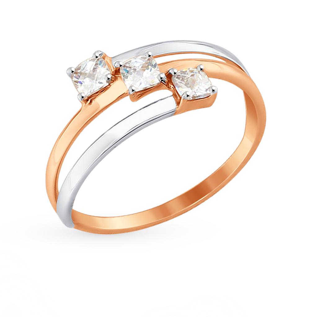 золотое кольцо с фианитами SOKOLOV 81010333*