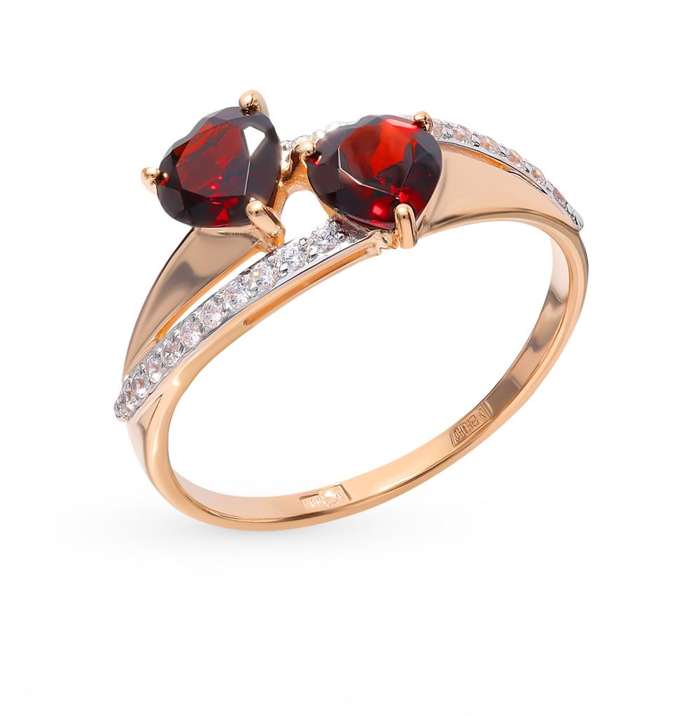 золотое кольцо с фианитами и гранатом SOKOLOV 715000*