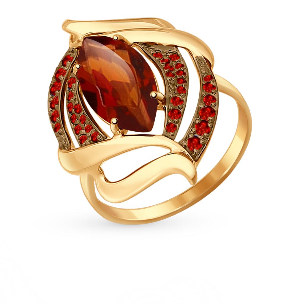 золотое кольцо с фианитами и гранатом SOKOLOV 714483*