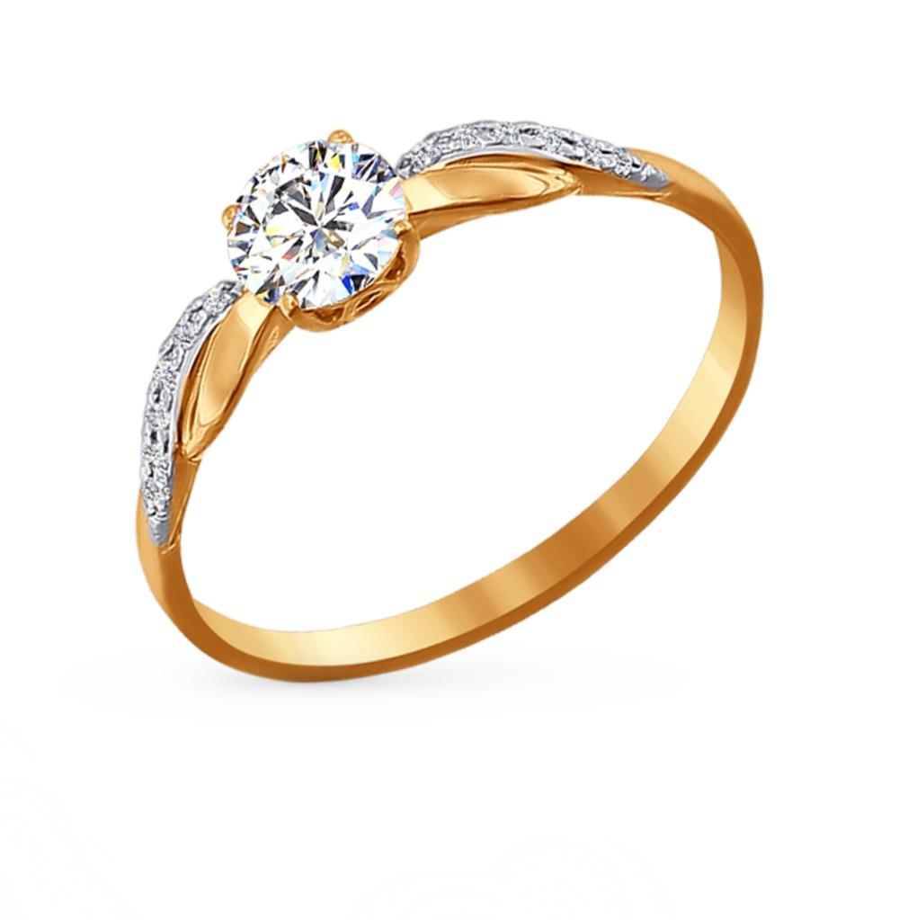 золотое кольцо с фианитами SOKOLOV 81010201*