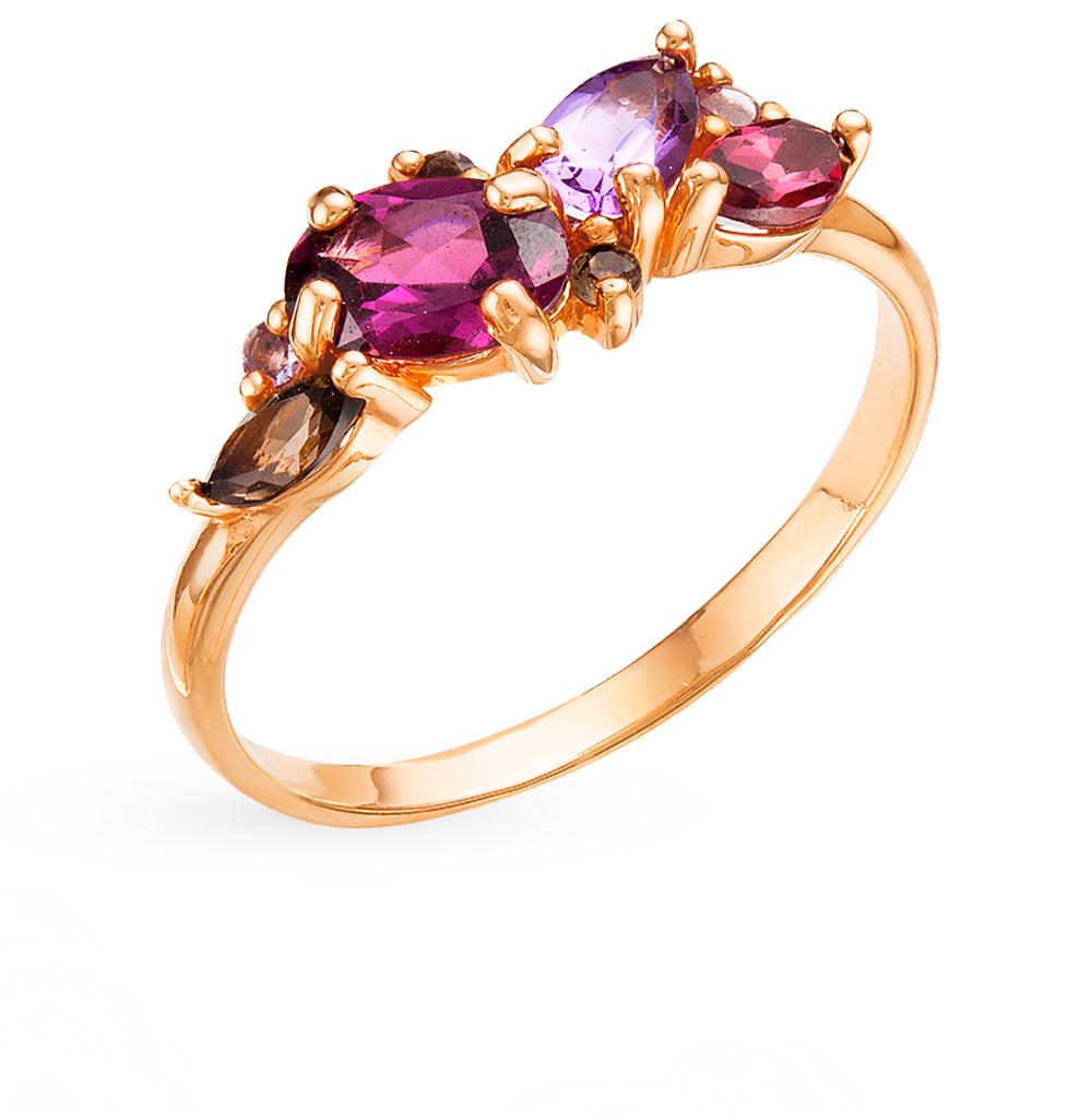 золотое кольцо с родолитами, раухтопазами и аметистом