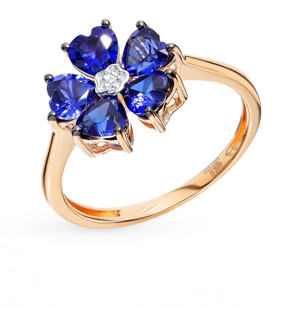 Золотое кольцо с сапфирами и бриллиантом