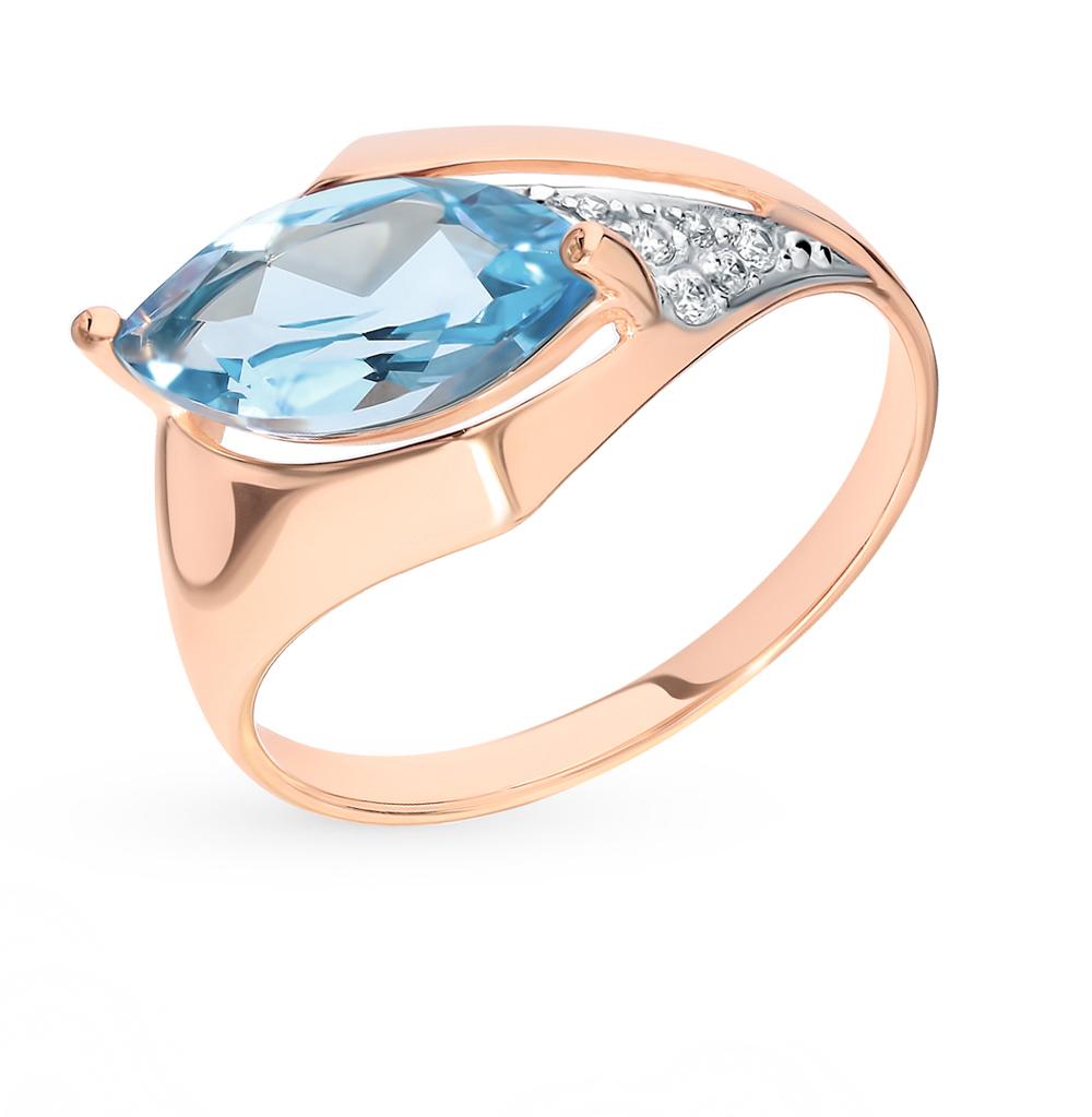 Золотое кольцо с топазом и фианитами SOKOLOV 714850*