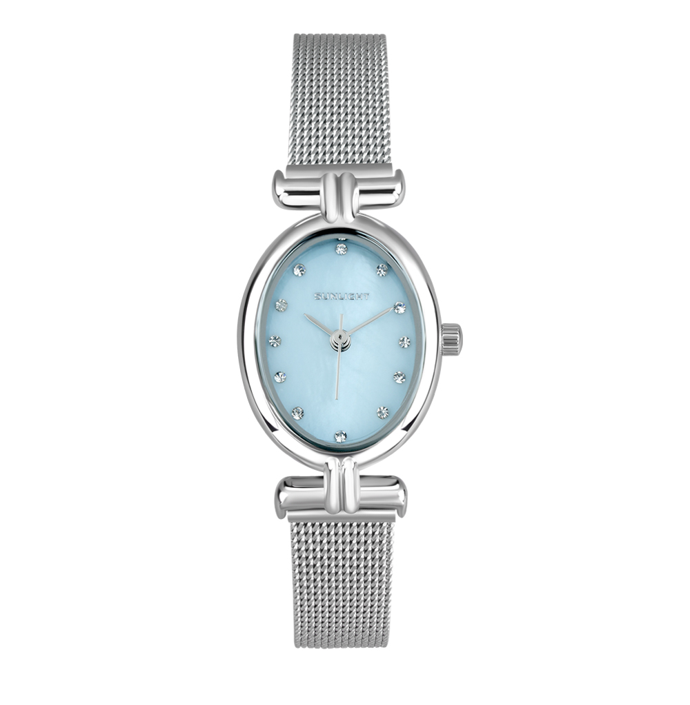 Овальные женские часы с перламутром на миланском браслете