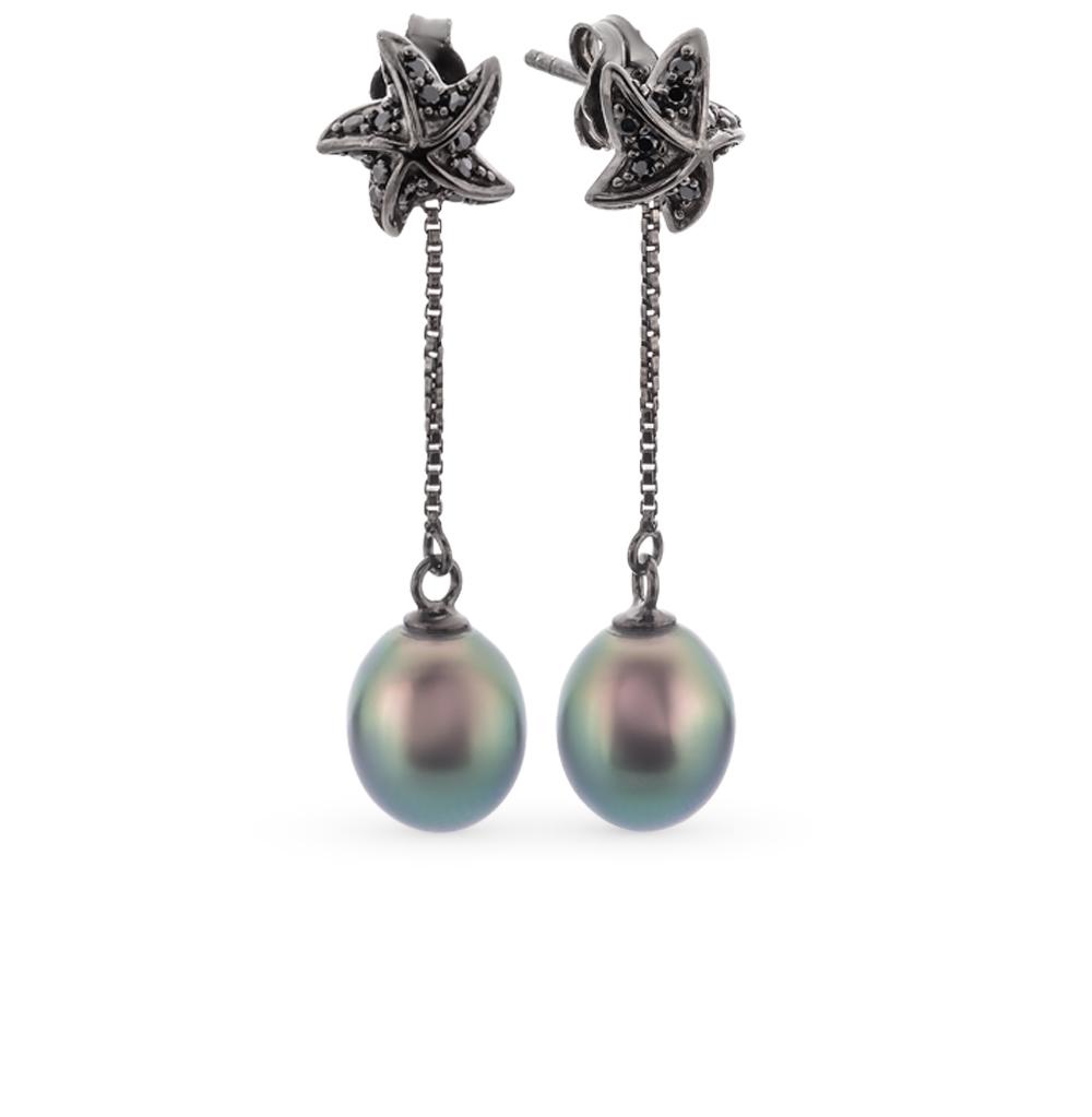 Фото «серебряные серьги с фианитами и жемчугами культивированными»