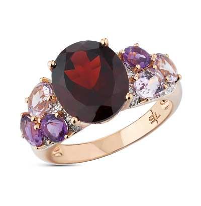 Золотое кольцо с аметистом, гранатом и бриллиантами в Санкт-Петербурге