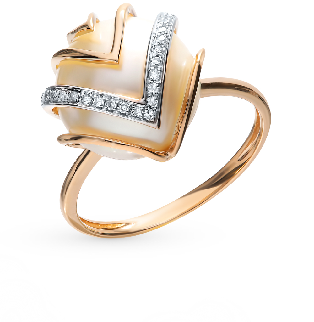 Золотое кольцо с жемчугом и бриллиантами в Екатеринбурге