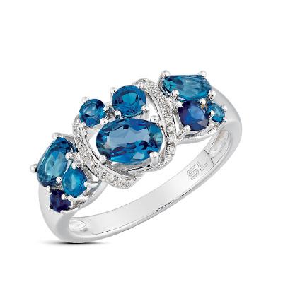 Золотое кольцо с сапфирами, топазами и бриллиантами в Санкт-Петербурге