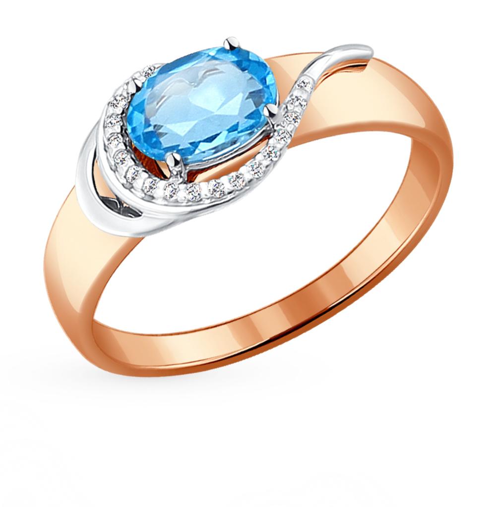 золотое кольцо с топазами и фианитами SOKOLOV 714071*