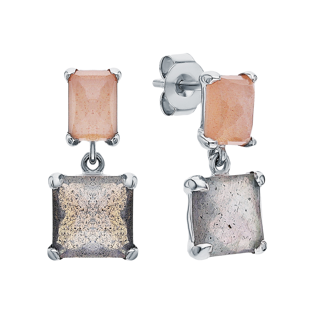 Фото «Серебряные серьги с лабрадоритами и лунными камнями»