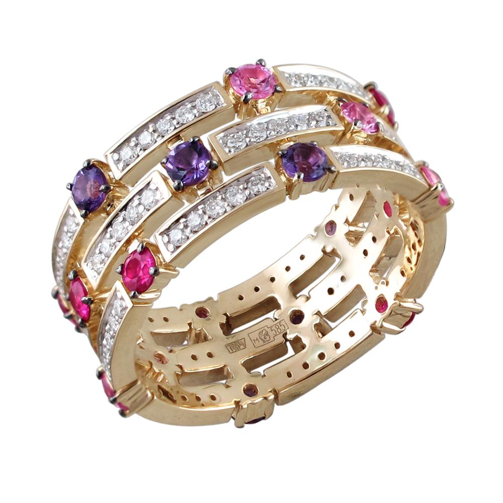 Золотое кольцо с рубинами, аметистом и бриллиантами в Санкт-Петербурге