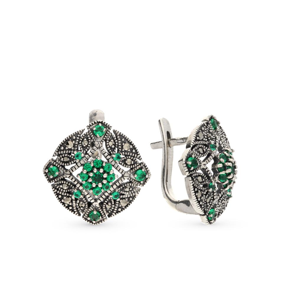 Фото «серебряные серьги с бериллом и марказитами»