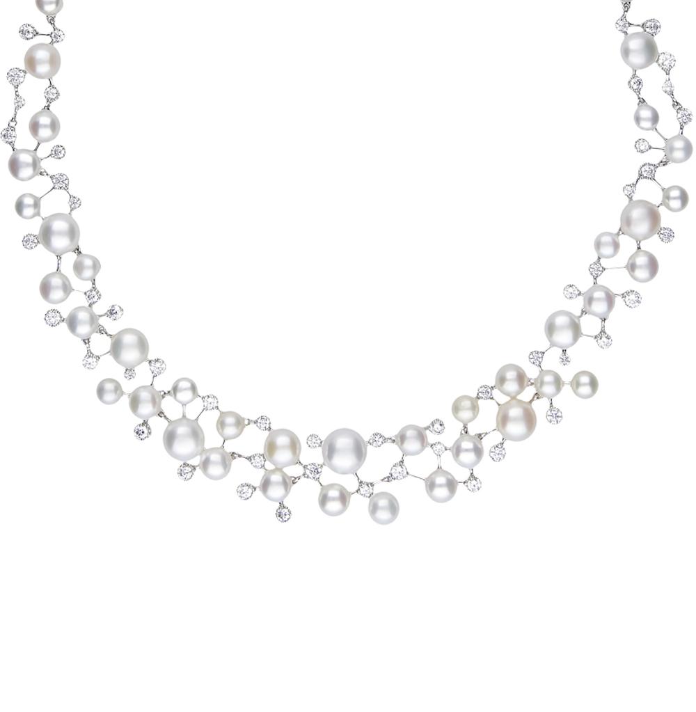 серебряное шейное украшение с жемчугом