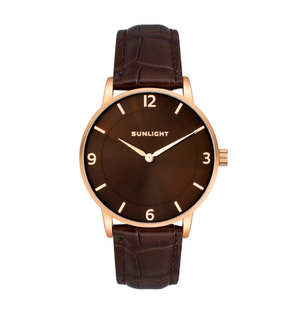 Фото «Тонкие универсальные часы на кожаном ремне»