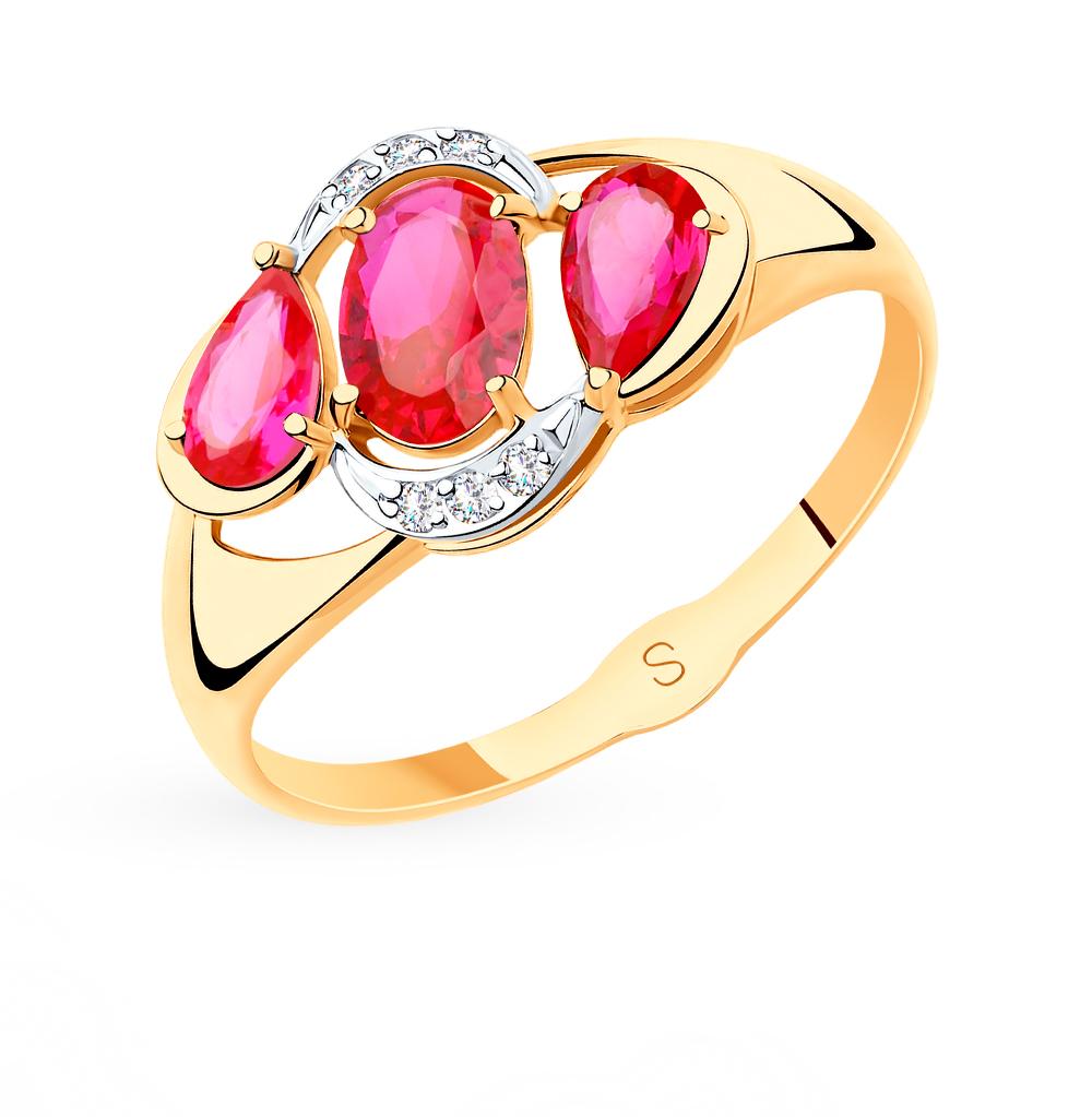 золотое кольцо с корундом и фианитами SOKOLOV 715513*