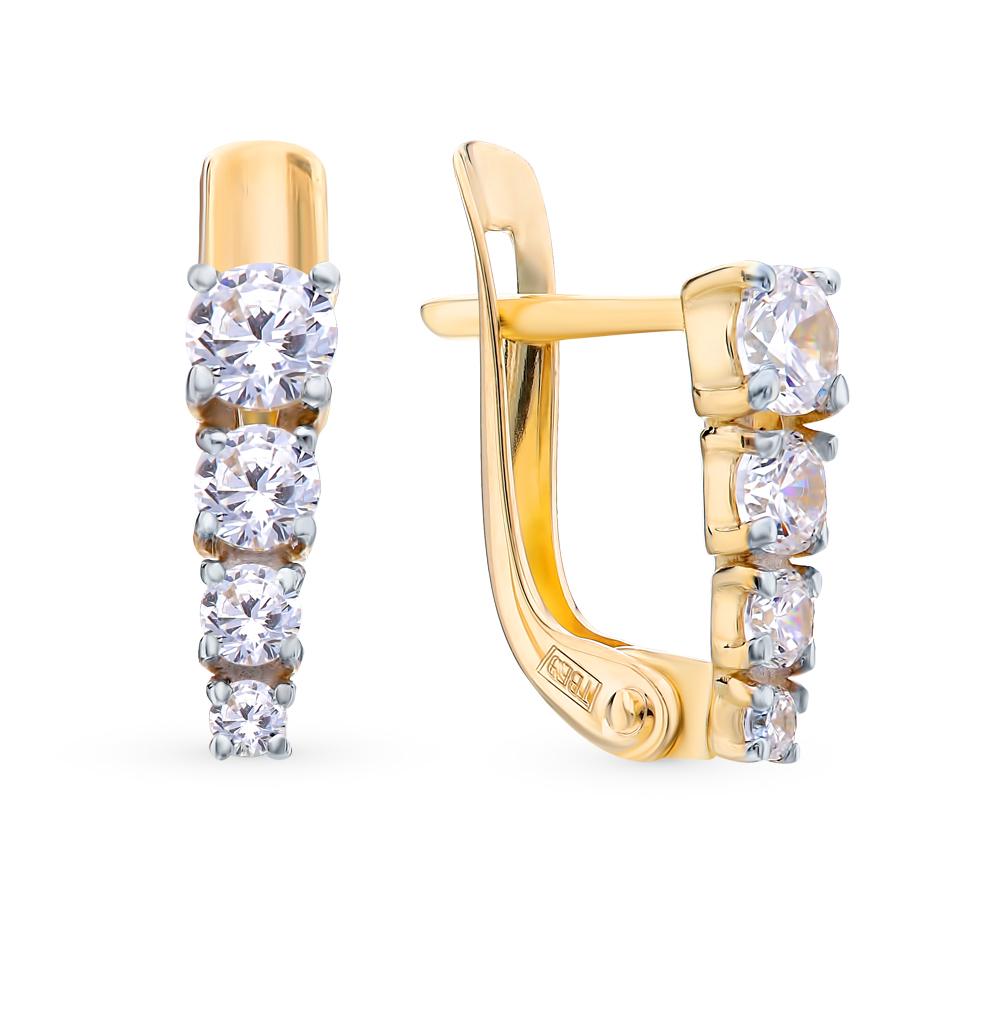 золотые серьги с фианитами SOKOLOV 027455-2*