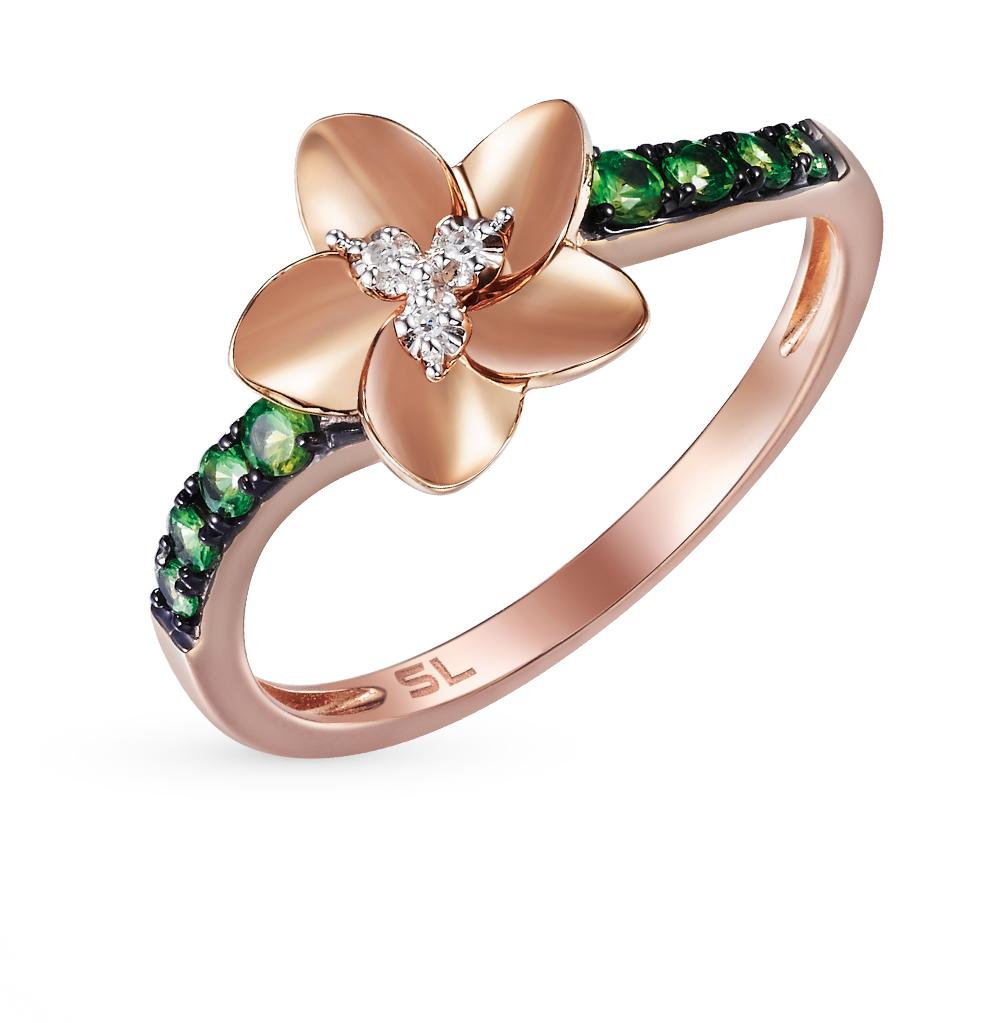 Золотое кольцо с гранатом и бриллиантами от SUNLIGHT
