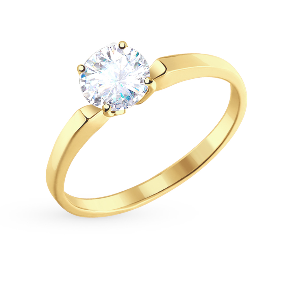 Фото «Золотое кольцо с фианитами SOKOLOV 010184-2*»