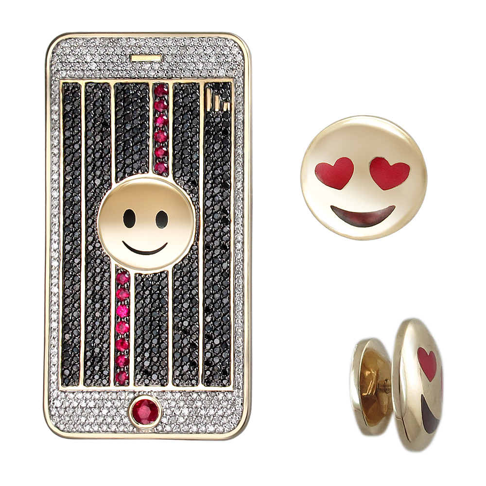 Золотая брошь с рубинами, эмалью и бриллиантами в Санкт-Петербурге