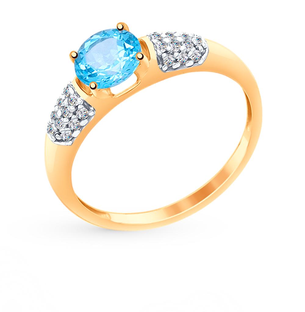 Золотое кольцо с топазами и фианитами SOKOLOV 714976* в Екатеринбурге