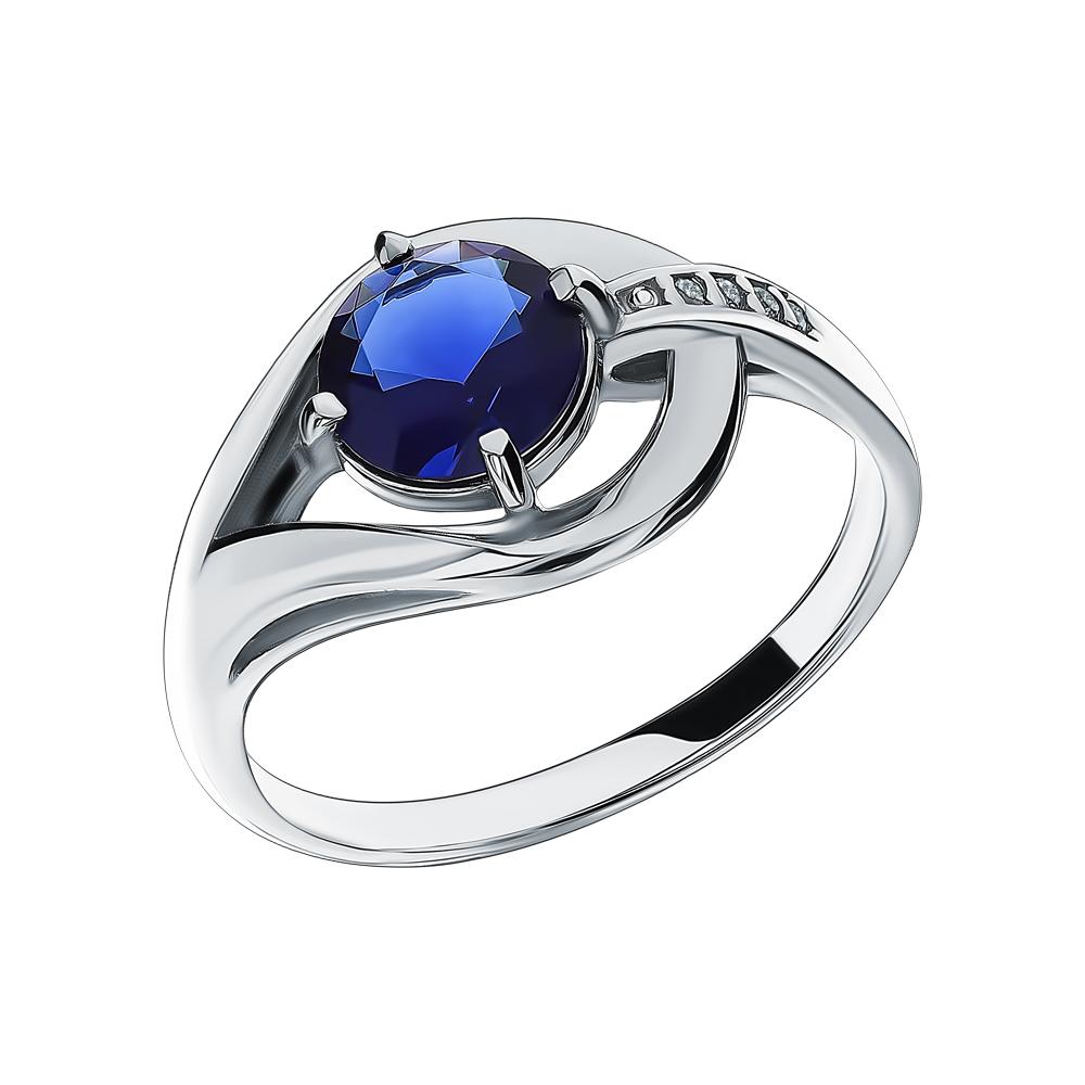 Серебряное кольцо с фианитами и сапфирами синтетическими в Екатеринбурге