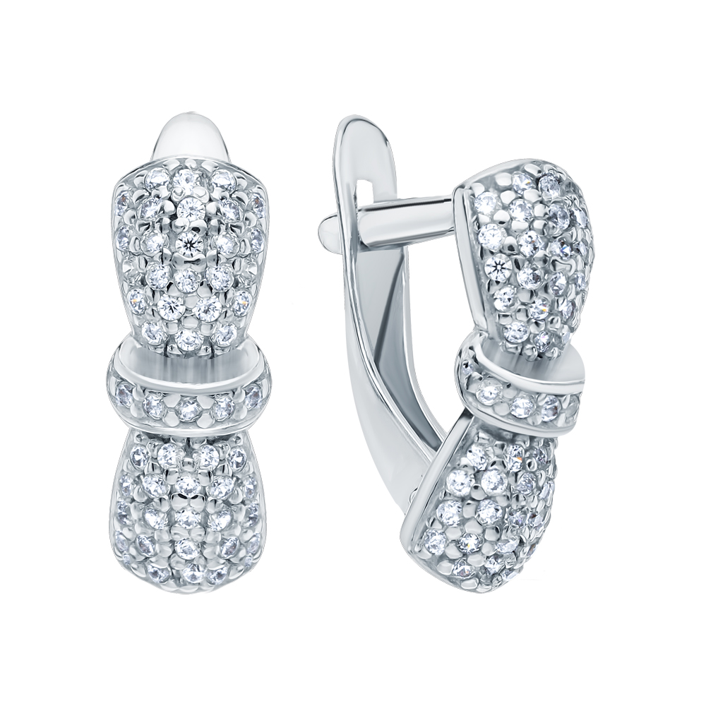 Фото «Серебряные серьги с топазами и кубическими циркониями»