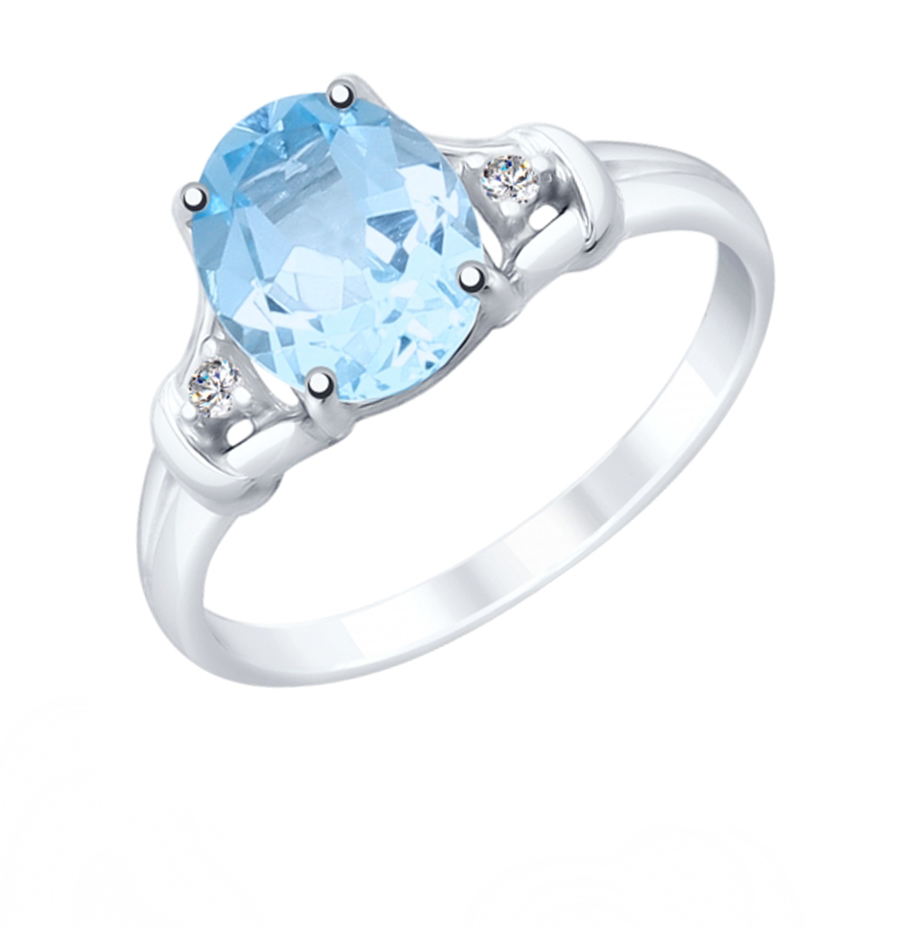 Серебряное кольцо с топазами и фианитами SOKOLOV 92011783 в Екатеринбурге